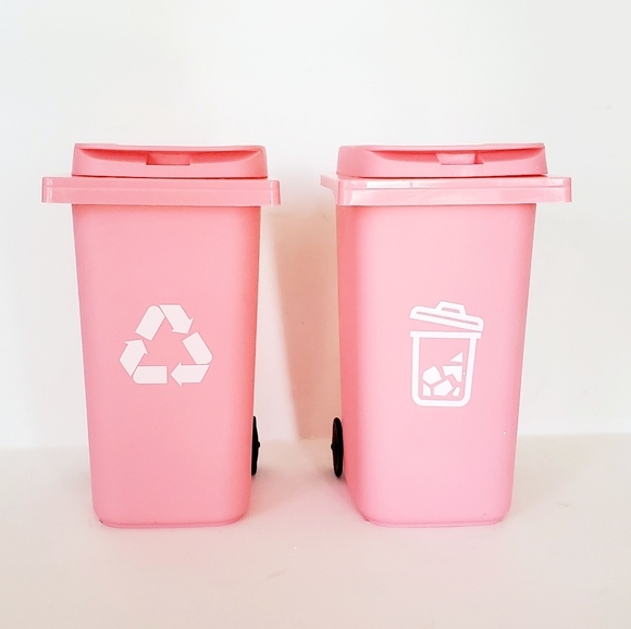 Barbie Fashion Doll Pink Trash & Recycle Bin